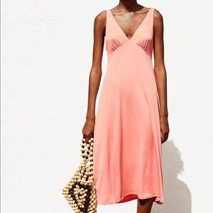 Zara pale pink flowy dress